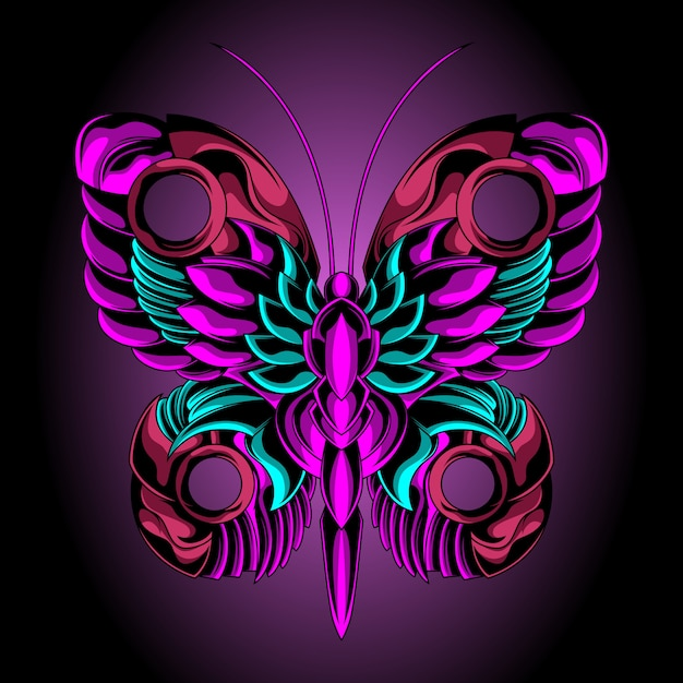Beautiful iron butterfly Premium Vector