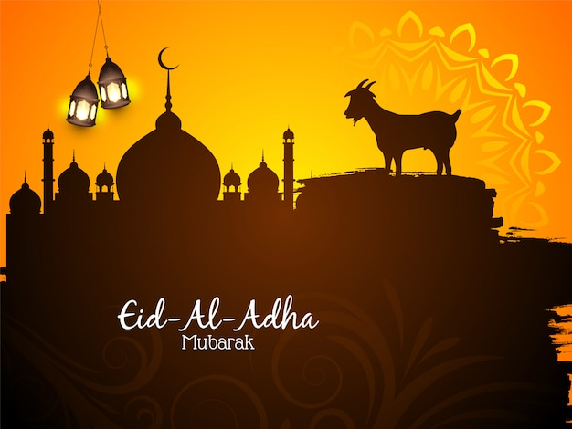 Beautiful islamic eid al adha mubarak background Free Vector