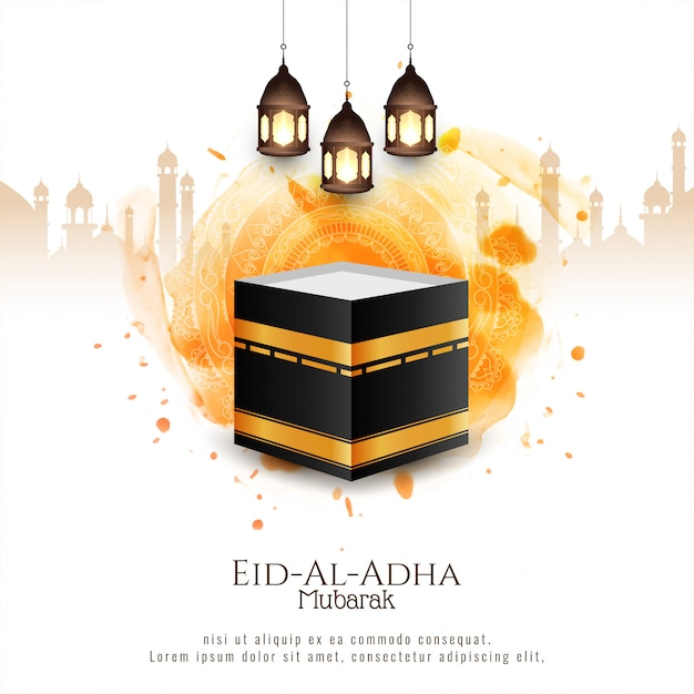 Beautiful islamic eid al adha mubarak stylish decorative background Free Vector