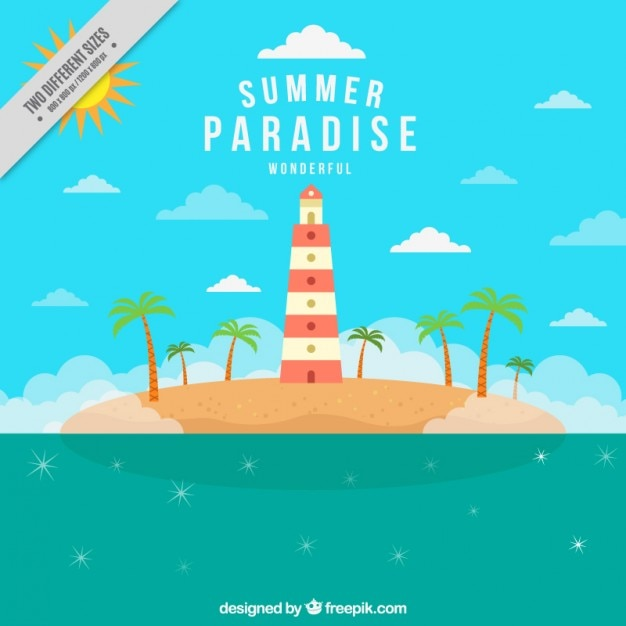 Beautiful island summer background with a\ houselight