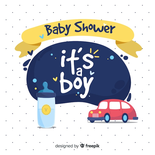 Beautiful its a boy baby shower template Free Vector