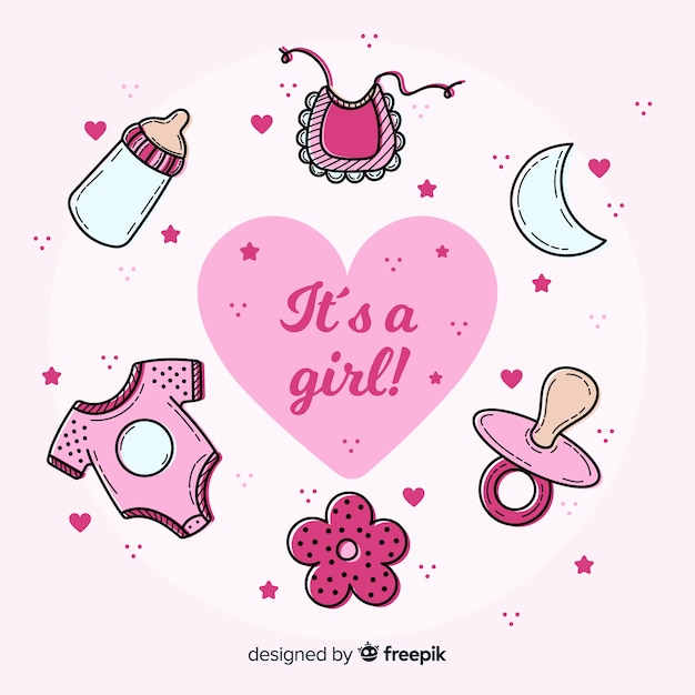 Beautiful its a girl baby shower template Free Vector