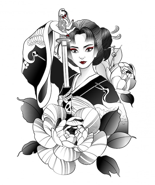 Beautiful japanese geisha with sword in hand Premium Vector