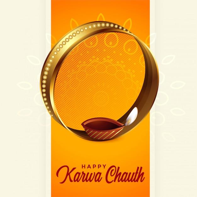 Beautiful karwa chauth festival greeting background design Free Vector