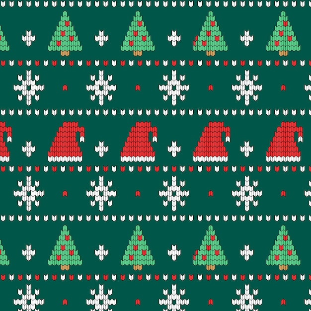 Beautiful knitted christmas pattern Free Vector