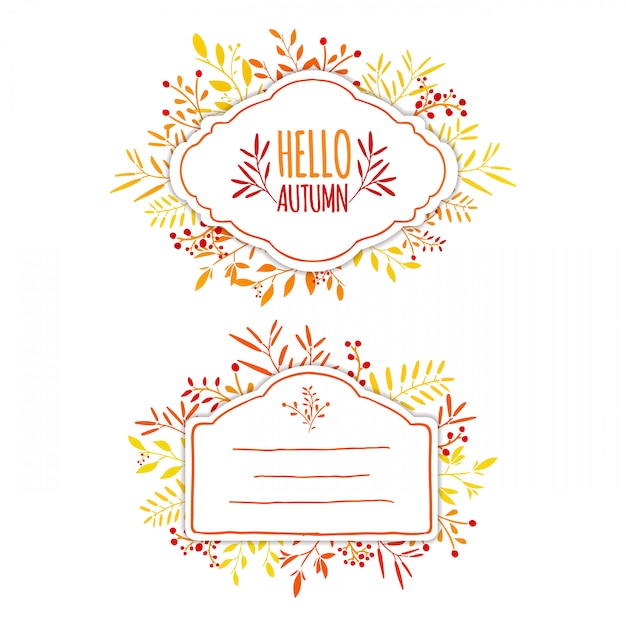 Beautiful label with flowers and leaves Premium Vector