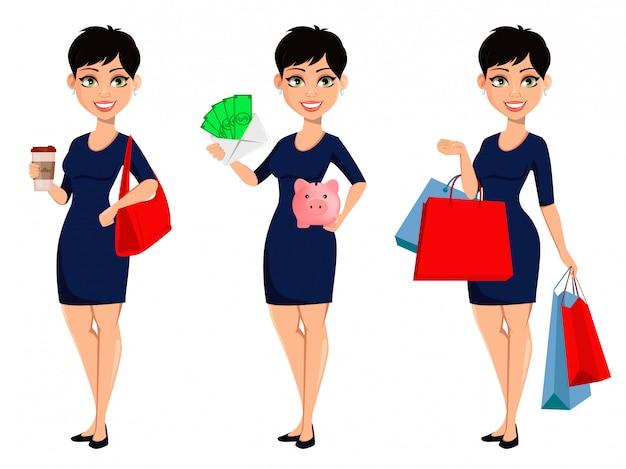 Beautiful lady businesswoman Premium Vector