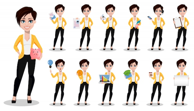 Beautiful lady in casual clothes set of thirteen poses. Premium Vector