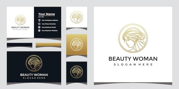 ラインアートスタイルと名刺デザインの美しい女性のロゴ。 Premiumベクター