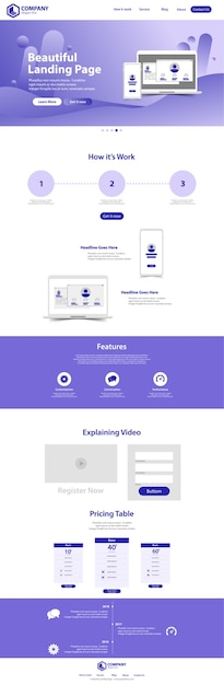 Beautiful landing page website template design Premium Vector