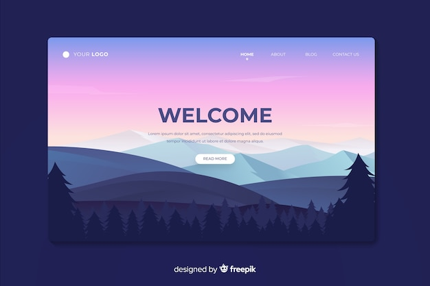Beautiful landing page with gradient landscape Free Vector