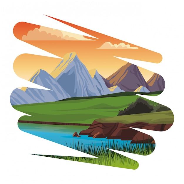 Beautiful landscape scenery grunge Premium Vector