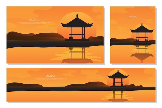 Beautiful landscape sunset in bali. orange abstract gradient background, flat design Premium Vector