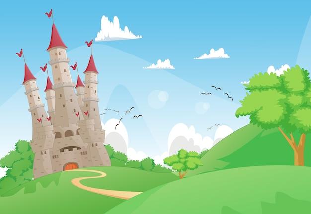Красивый пейзаж с сказочным замком Premium векторы