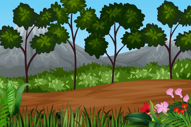 Beautiful landscape with plant and trees Premium Vector