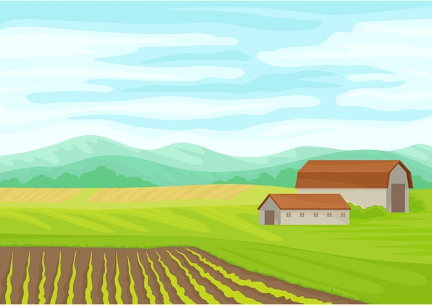 Beautiful landscape with a stone barn in the center. Premium Vector