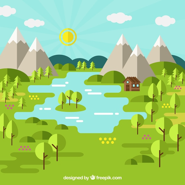 Beautiful landscape with trees and mountains in\ flat design