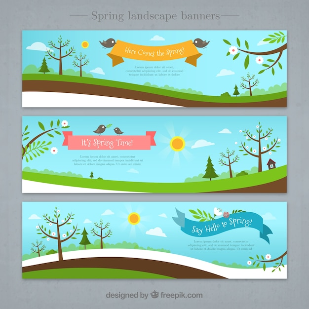 Beautiful landscapes banners