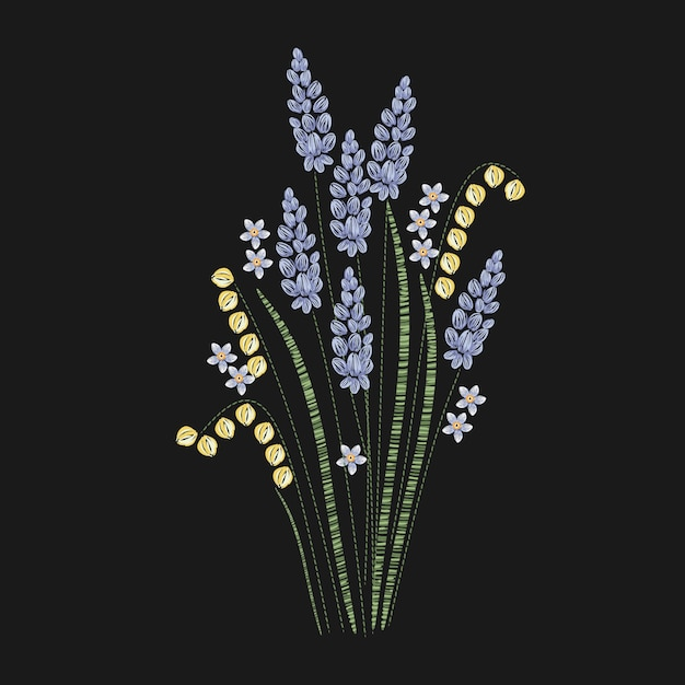 Premium Vector Beautiful Lavender Embroidered With Purple And Green Stitches On Black Background Gorgeous Floral Embroidery Design With Flowering Herbaceous Plant Needlework Or Handicraft Illustration