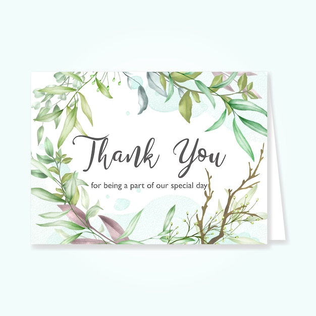 Beautiful leaves card with thank you message Premium Vector