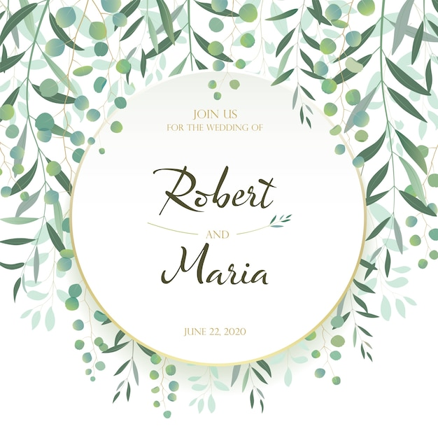Beautiful leaves floral wedding invitation card. Premium Vector