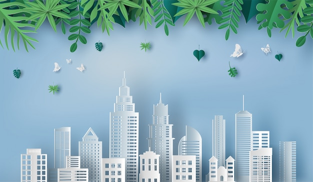 Beautiful leaves and green city. Premium Vector