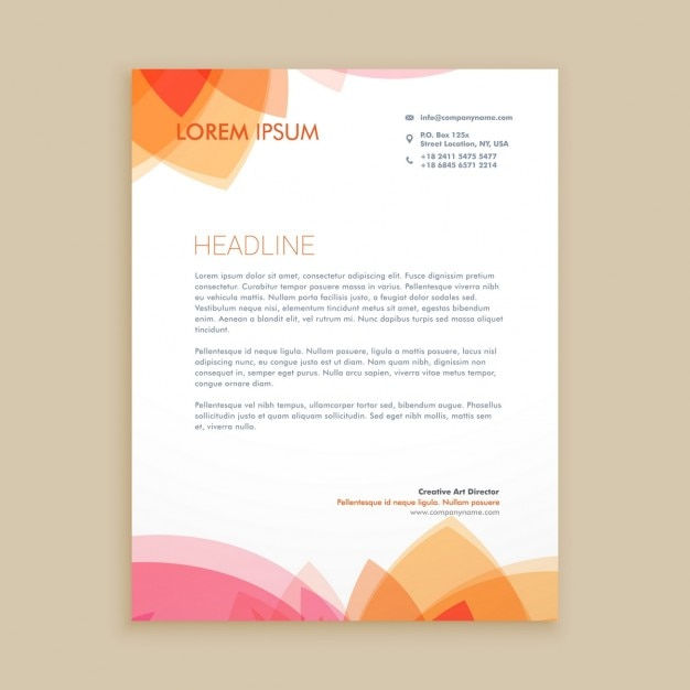 Beautiful Letterhead Design Free Vector  Business Letterhead Samples