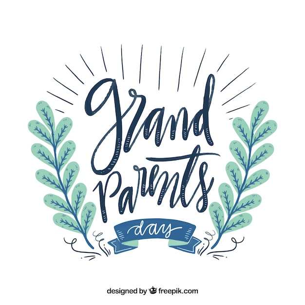 Beautiful lettering of grandparents day in vintage style with floral decoration