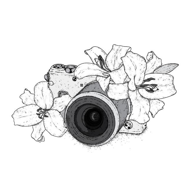 美しいユリとビンテージカメラ。図。 Premiumベクター