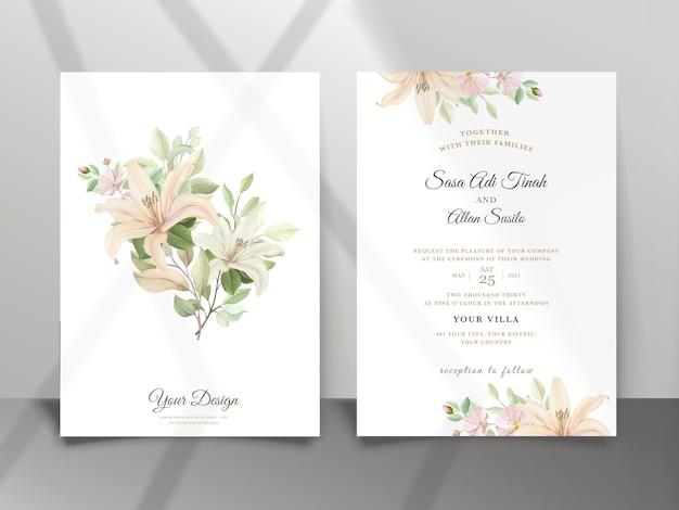 美しいユリの花の結婚式の招待カード Premiumベクター
