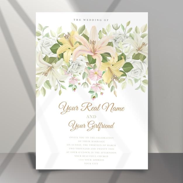 美しいユリの花の結婚式の招待カード 無料ベクター