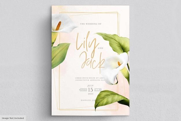 美しいユリの花のウェディングカード 無料ベクター