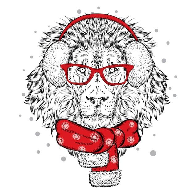 冬のスカーフとヘッドフォンで美しいライオン。正月とクリスマス。 Premiumベクター