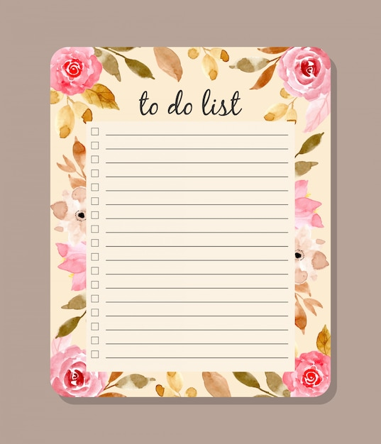 Beautiful to do list with floral watercolor Premium Vector