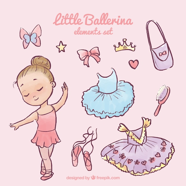 Beautiful little ballerina with her complements Free Vector