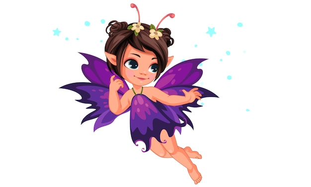Beautiful little flower fairy flying Premium Vector