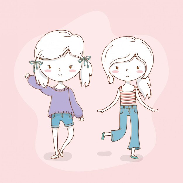 Beautiful little girls couple with pastel colors Premium Vector