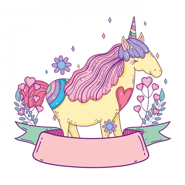 Beautiful little unicorn with flowers and ribbon frame Premium Vector