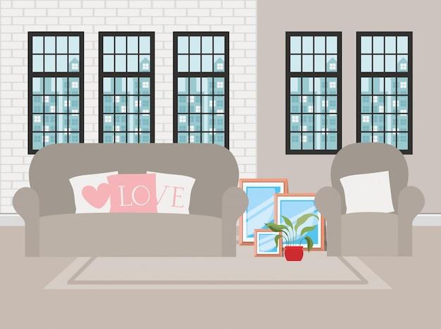 Beautiful living room house scene Free Vector