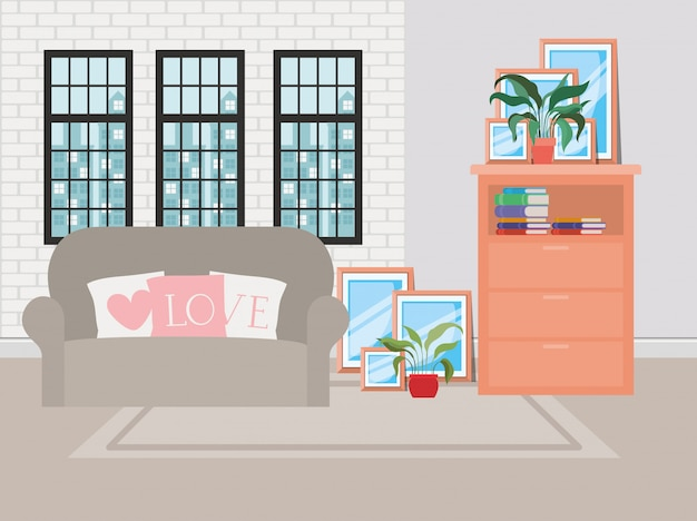 Beautiful living room house scene Free Vector