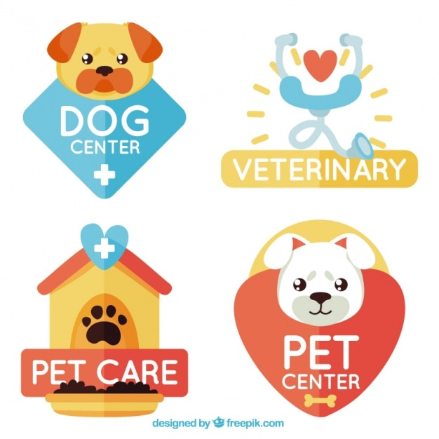 Beautiful logos for animal care Premium Vector