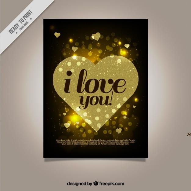황금 마음으로 아름 다운 사랑 카드 무료 벡터