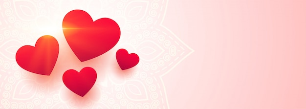 Beautiful love hearts banner with text space Free Vector