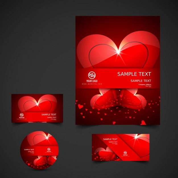 Beautiful love stationery Free Vector