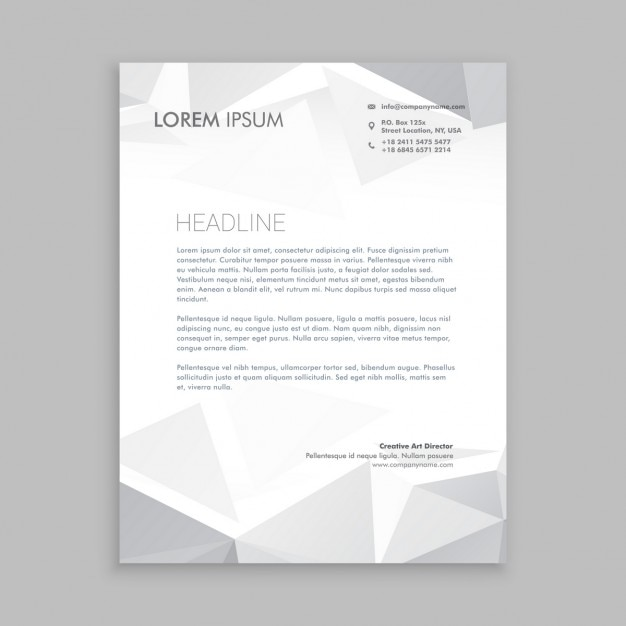 beautiful low poly letterhead design free vector
