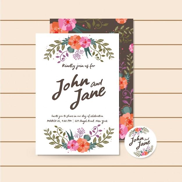 Beautiful Luxury Brown Wedding Invitation Floral Illustration