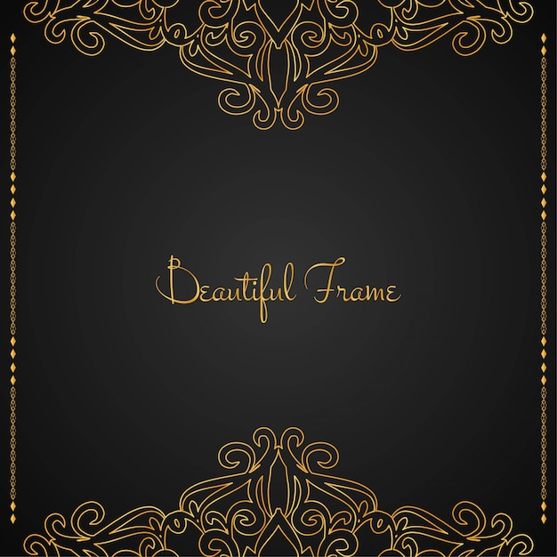 Beautiful luxury golden frame background Free Vector