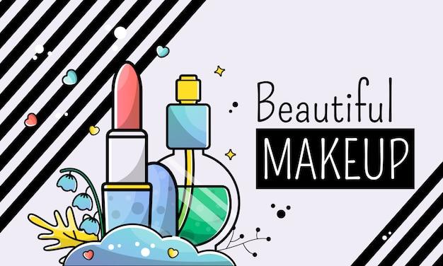 Beautiful make-up. banner background Premium Vector
