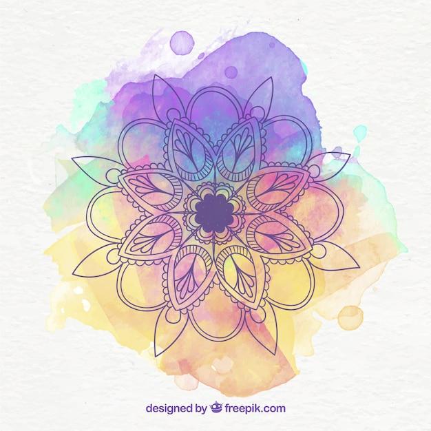 Beautiful mandala background with watercolor Free Vector