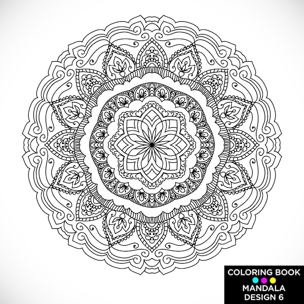 Free Vector Beautiful Mandala For Coloring Book